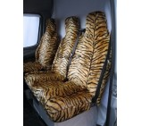 Peugeot Boxer van seat covers gold tiger faux fur fabric